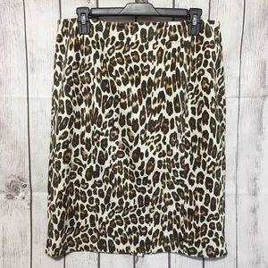 Black Label Chicos Animal Print Pencil Skirt 1.5 M